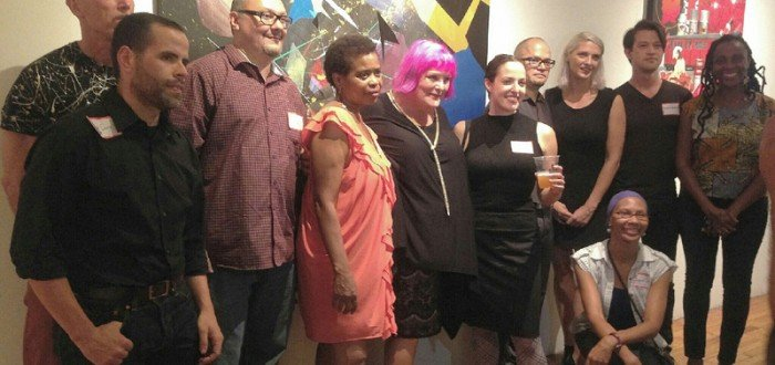 Hot or Cold? Opening Reception Artist Photo! L-R Jose Soto, Roy Secord, Zimad, Diane Davis, Eileen Walsh, Lisa Lebofsky, Natalie Wood, Juanita Lanzo, Donald Daedulus, Laura James. Photo by Elaine Delgado.
