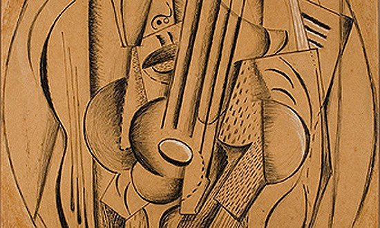 Diego Rivera (Mexican, 1886-1957), Cubist Composition, 1915, charcoal, pencil, and chalk on paper, 23 ¼ x 18""