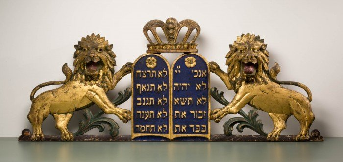 Decalogue, New York, late 19th century, wood carved, painted, gold leaf, 21 x 54""